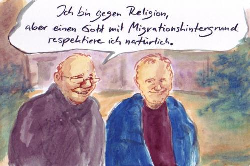 Cartoon: Toleranz (medium) by Bernd Zeller tagged migration,religionen,