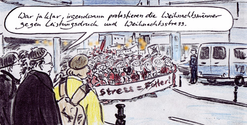 Cartoon: Weihnachtsdemo (medium) by Bernd Zeller tagged weihnachten,christmas,xmas,demo,stress,konsum