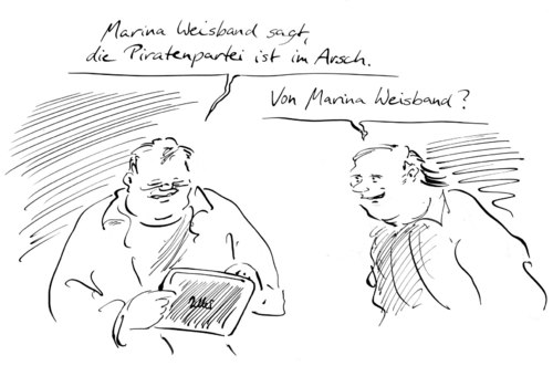 Cartoon: Weisbandstatement (medium) by Bernd Zeller tagged weisband,piraten
