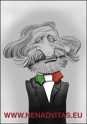 Cartoon: VERDI GIUSEPPE (medium) by Nenad Vitas tagged music,la,traviata,nabuko,aida,italia,composer