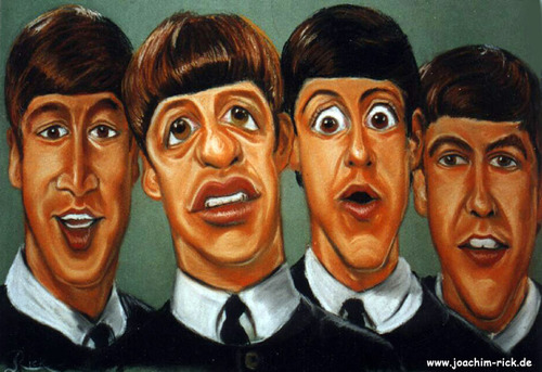 Cartoon: The Beatles 1963 (medium) by Portraits-Karikaturen tagged musikgruppen,karikaturen,beatles,1963,karikatur