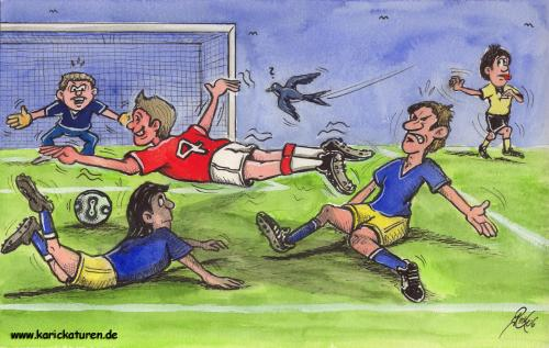 Cartoon: Fussball -  Schwalbe - 2006 (medium) by Portraits-Karikaturen tagged fußball,fußballkarikatur,fußballspieler,fussballkarikatur,fussball,karikatur,schwalbe,schwalben,torszene