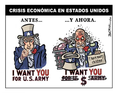 Cartoon: Crisis Usa (medium) by Bernal tagged usa,humor,ilustration,money,business,wall,street,economy,dinero,finance
