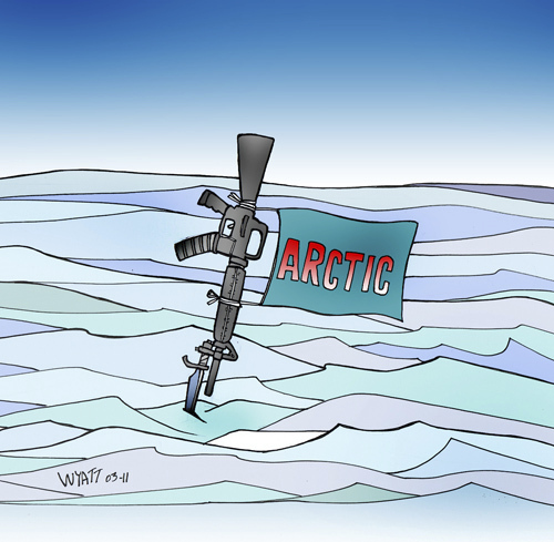 Cartoon: Bullets over ice (medium) by wyattsworld tagged arctic,military,canada,russia