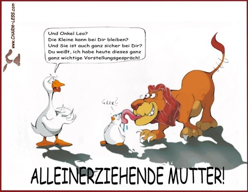 Cartoon: Alleinerziehend (medium) by Charmless tagged ente,löwe,alleinerziehend,kinder