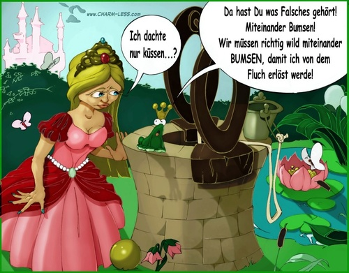 Cartoon: Froschkönig (medium) by Charmless tagged märchen,froschkönig,frosch,prinzessin,eimer,brunnen