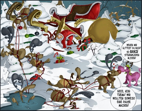 Cartoon: Rudolf Die Pause (medium) by Charmless tagged rudolf,rudolph,weihnachtsmann,renntier,schnee,schlitten,unfall,geschenk,baum,winter,weihnachten