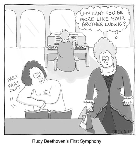 Cartoon: First Symphony (medium) by noodles tagged beethoven,piano,fart,sibling
