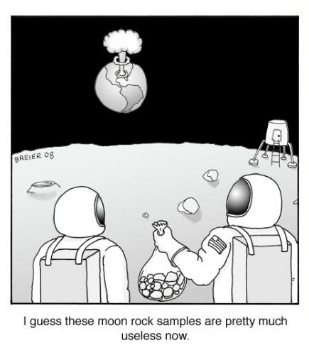Cartoon: moon rocks (medium) by noodles tagged space,moon,rocks,earth,nuclear