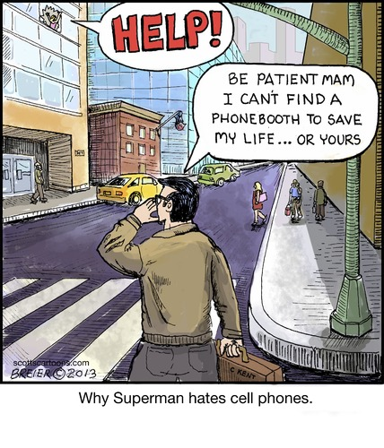Cartoon: Phone Booth (medium) by noodles tagged superman,help,phone,booth,cell