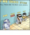 Cartoon: Droid Store (small) by noodles tagged star,wars,droids,r2d2,u2,terminator,noodles