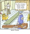 Cartoon: Janitor Tryouts (small) by noodles tagged janitor,tryouts,competition,mop,case,noodles