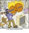 Cartoon: Jimi (small) by noodles tagged jimi,hendrix,cello,music,noodles,fire,orchestra