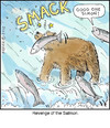 Cartoon: Salmon Smack (small) by noodles tagged salmon,bears,fishing,noodles,revenge