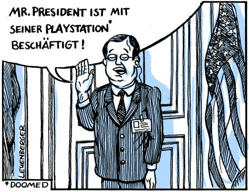 Cartoon: Mr. President (medium) by Leuenberger tagged usa,george w bush,playstation,krieg,kampf,irak,spiel,videospiel,realitätsverlust,spass,unsinnig,unvernünftig,präsident,unfähig,imperalismus,saddam hussein,dick cheney,öl,ölraffinerie,ölknappheit,ölpreis,pipeline,halliburton,dubya,infantil,dumm,inkompetent,terrorismus,terror,world trade center,attentat,taliban,osama bin laden,schurkenstaat,massenvernichtungswaffe,george,bush,saddam,hussein,dick,cheney,world,trade,center,osama,binladen,george bush,bin,laden