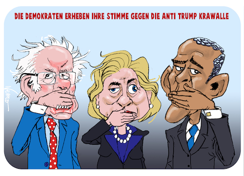 Cartoon: Stille Demokraten (medium) by NEM0 tagged democrats,democracy,protest,hillary,clinton,bernie,sanders,barak,obama,trump,riots,krawalle,nemo,nem0,democrats,democracy,protest,hillary,clinton,bernie,sanders,barak,obama,trump,riots,krawalle,nemo,nem0