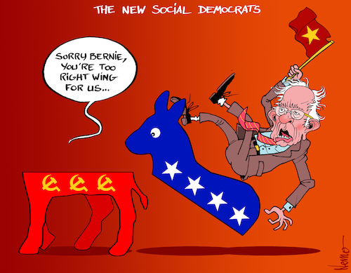 Cartoon: Bernie Is Too Right Wing (medium) by NEM0 tagged bernie,sanders,bern,democrats,dems,dnc,social,socialist,socialism,commie,communist,communism,donkey,radical,far,left,leftist,leftists,libtards,flag,star,trotsky,trotskist,lenine,leninist,mao,maoist,nem0,nemo,bernie,sanders,bern,democrats,dems,dnc,social,socialist,socialism,commie,communist,communism,donkey,radical,far,left,leftist,leftists,libtards,flag,star,trotsky,trotskist,lenine,leninist,mao,maoist,nem0,nemo