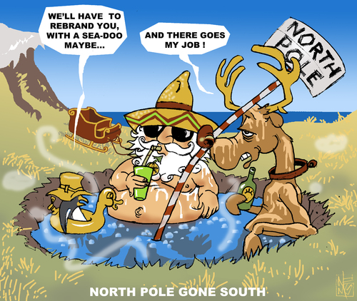 Cartoon: North gone South (medium) by NEM0 tagged north,pole,arctic,melting,climate,change,global,warming,temperature,polar,santa,clauss,jacuzzi