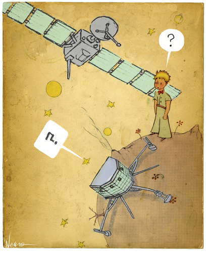 Cartoon: Philae meets The Little Prince (medium) by NEM0 tagged rosetta,little,prince,exupery,philae,esa,eu,space,program,comet,probe,exploration,technology,science