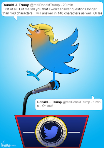 Cartoon: Twitterer of the United States (medium) by NEM0 tagged donald,trump,tweet,twitter,internet,social,media,network,realdonaldtrump,communications,technology,smartphone,press,conference,journalism,journalist,nemo,nem0,donald,trump,tweet,twitter,internet,social,media,network,realdonaldtrump,communications,technology,smartphone,press,conference,journalism,journalist