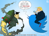 Cartoon: Tweeter in Chief VS Rocket Man (small) by NEM0 tagged trump,kim,jong,un,north,korea,dpkr,us,usa,twitter,rocketman,fire,fury