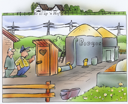 Cartoon: Biogas (medium) by HSB-Cartoon tagged biogas,energie,plumpsklo,toilette,strom,stromerzeugung