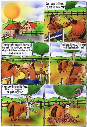 Cartoon: Bob comic (medium) by HSB-Cartoon tagged comic,horse,farm,animal,comic,pferd,futter,nahrung,landwirtschaft,apfel,farmer,bauer
