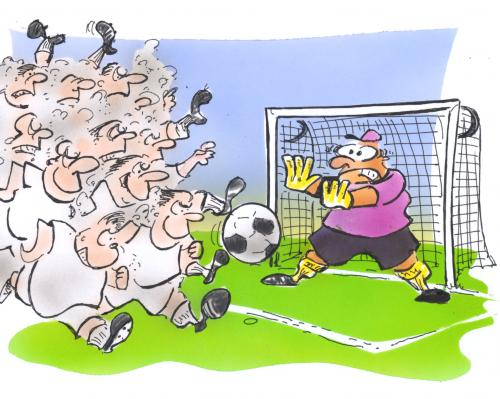 Cartoon: Bundesligastart (medium) by HSB-Cartoon tagged sport,fußball,bundesliga,verein,mannschaft,torwart,stürmer,stadion