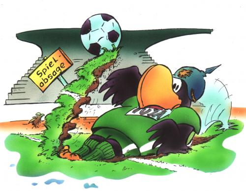 Cartoon: Spielabsage (medium) by HSB-Cartoon tagged sport,scp,adler,soccer,,sport,scp,adler,fussball,dfb,bundesliga,wm,em,nationalmannschaft,spielabsage,boden,rasen