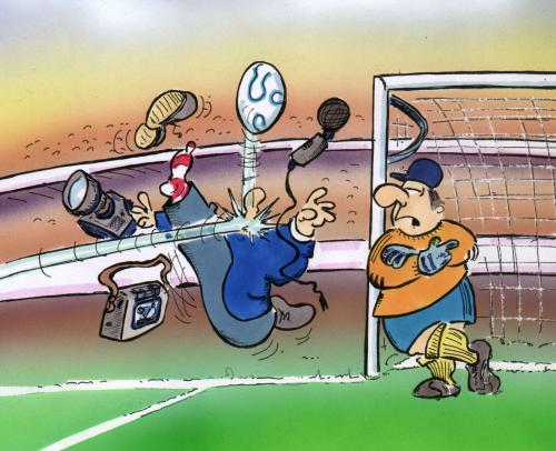 Cartoon: Sportberichterstattung (medium) by HSB-Cartoon tagged sport,fussball,soccer,reporter,torwart,interview,stadion,,sport,fussball,reporter,torwart,interview,stadion,em,wm,nationalmannschaft,tor,torschuss,treffen,torschütze