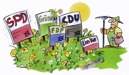 Cartoon: Wahlplakate (medium) by HSB-Cartoon tagged wahl,nrw,wahlkampf,frühling,wahlplakat,spd,cdu,grüne,fdp,linke