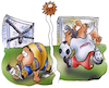 Cartoon: Covid Fußball (small) by HSB-Cartoon tagged fussball,fußball,amateurliga,kreisliga,fußballlspiel,profispieler,profiliga,fußballspiel,covid,covid19,corona,pandemie,lockdown,sport,sportler,bezirksliga,bundesliga,cartoon,spielverbot