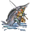 Cartoon: fishing (small) by HSB-Cartoon tagged fish,fishing,angeln,angelsport,water,sea,hook,stör,beluga,fisch,fischen,angler,airbrush,airbrushzeichnung,airbrushmotiv,airbrushillustration