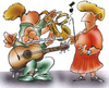 Cartoon: learning an instrument (small) by HSB-Cartoon tagged music,guitar,rockmusic,classicmusik,musicteacher,saxophone,flute,conductor,tambourinesymphony