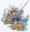 Cartoon: young fishing expert (small) by HSB-Cartoon tagged fishing,teen,sea,harbour,comic,character