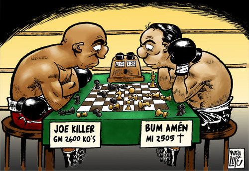 Cartoon: boxing chess (medium) by Wadalupe tagged boxeo,ajedrez,deporte,match,ring,duelo