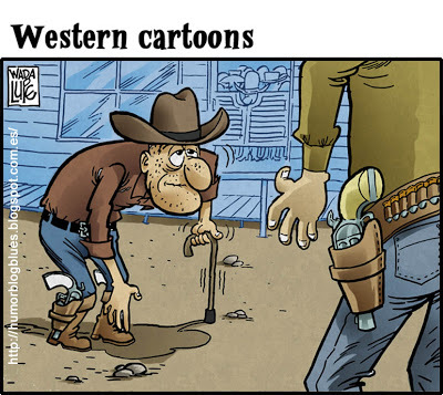 Cartoon: duelo al anochecer (medium) by Wadalupe tagged western,duelo