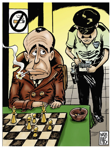 Cartoon: smoked in your eyes mr bogart (medium) by Wadalupe tagged smoke,bogart,chess,tourney,law,tax,money,health,fine