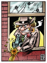 Cartoon: Silencio se dispara (small) by Wadalupe tagged gangster,metralleta,chicago,mafia,disparos,tiroteo
