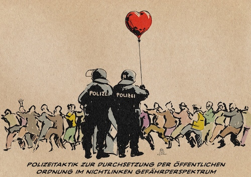 Cartoon: Polizeitaktik (medium) by Guido Kuehn tagged corona,stuttgart,polizei,covid,querdenker,corona,stuttgart,polizei,covid,querdenker
