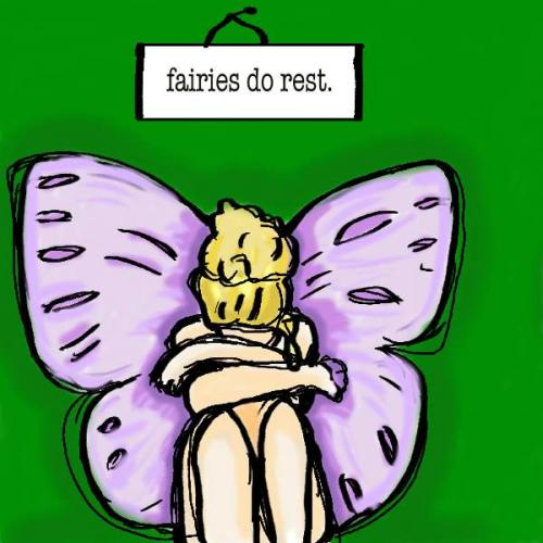 Cartoon: Fairy (medium) by oursoula tagged fairy,rest,art,green,purple