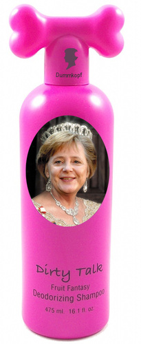 Cartoon: shlampoo (medium) by poleev tagged queen,shampoo,head,brd,germany,of,chancellor,merkel,angela