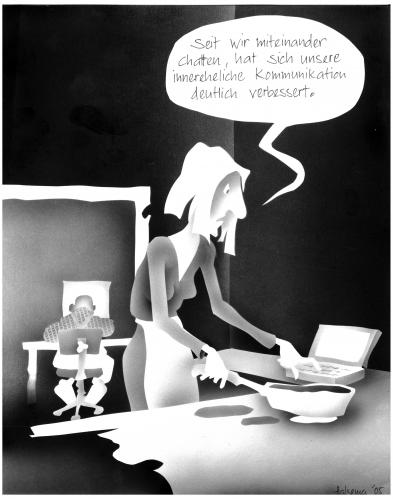 Cartoon: Chat (medium) by Jörg Halsema tagged chatten,kommunikation,it,communication,mann,frau,man,woman,couple,paar,beziehung,küche,home,wohnung