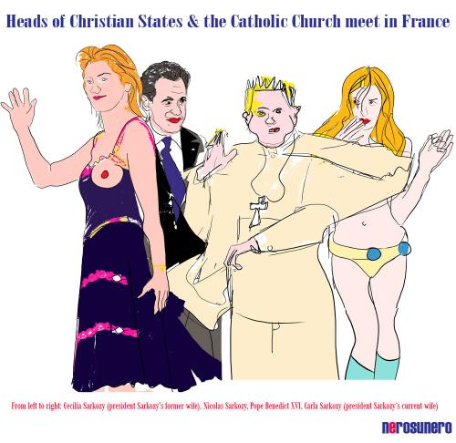 Cartoon: Heads of Christianity (medium) by nerosunero tagged sarkozy,bruni,ratzingerchristianity,divorce,politics