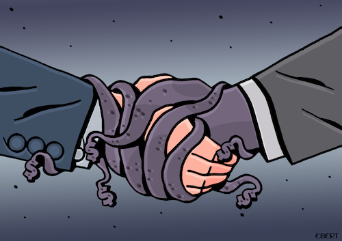 Cartoon: Stranglehold (medium) by EnricoBertuccioli tagged corruption,money,bribery,political,government,dishonesty,authority,power,greed,crime,trust,abuse,influence,interest,public,illegality,law,society,gain