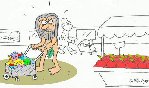 Cartoon: Adam shopping (medium) by yasar kemal turan tagged adam,shopping