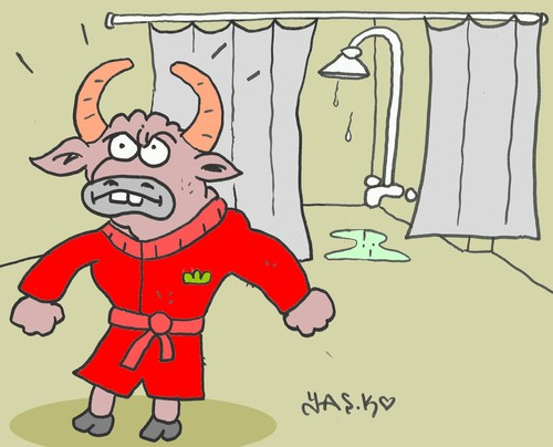Cartoon: bathrobe (medium) by yasar kemal turan tagged bathrobe