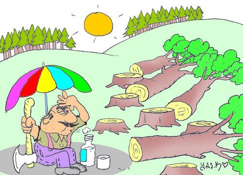 Cartoon: peace with nature (medium) by yasar kemal turan tagged peace,with,nature