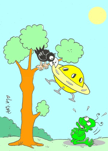 Cartoon: please-ufo (medium) by yasar kemal turan tagged fontein,la,crow,alien,ufo,please