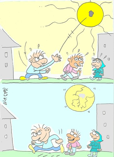 Cartoon: very hot (medium) by yasar kemal turan tagged break,weather,sun,hot,very